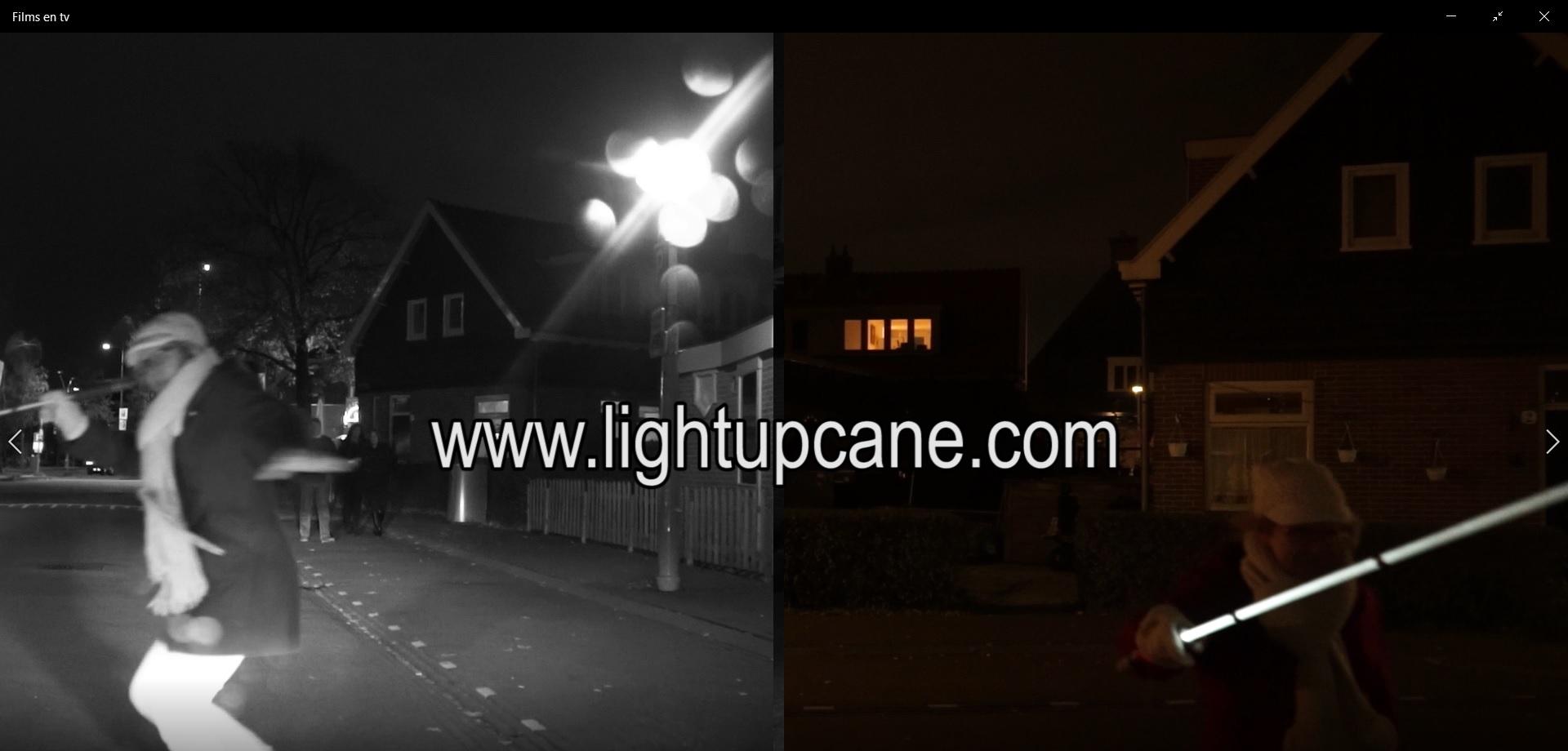 Lichtgevende blindenstok vs normale blindenstok